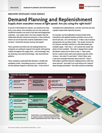 Demand Planning and Replenishment - reduce planning and replenishment times