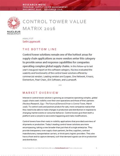Reviews of Supply Chain Control Towers - Nucleus Research