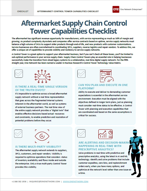 The Aftermarket Parts Control Tower Checklist - How to effectively evaluate your aftermarket parts supply chain management solutions